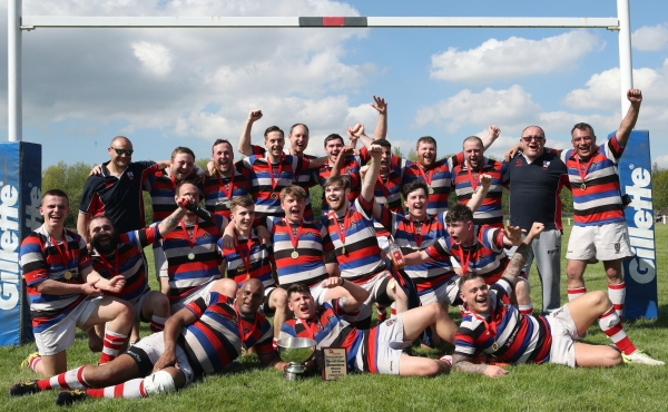 Liverpool St. Helens 2nd XV celebrate their Bowl Final victory